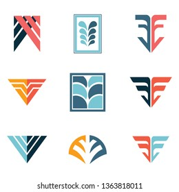 Abstract F - V - FF - VV - FV- Letter Initial Logo Template