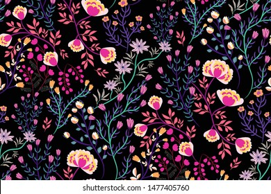 Abstract fabulous flowers, vines, leaves on a dark background seamless pattern. Floral print in hand-drawn style. Can be used for fashion fabrics, Wallpaper, wrapping paper, covers... Vector.