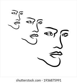 Abstract Face art drawing. Three face vector