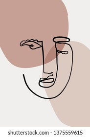 Abstract face art one line continuous drawing. Woman fashion portrait. Monochrome doddle hand sketch. Minimal poster. Contemporary trendy design for placards, flyers, brochures, invitations.