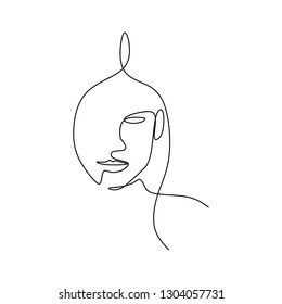 Abstract face continuous one line drawing vector illustration minimalism style on white background. Good for poster art and wallpaper.
