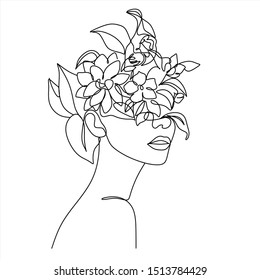 Abstract face with flowers by one line vector drawing. Portrait minimalistic style.  Botanical print. Nature symbol of cosmetics. Modern continuous line art.  Fashion print. Beaty salon logo.