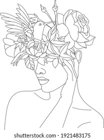 Abstract face with flowers one line vector drawing. Woman with bird. Minimal style portrait. Botanical print. Cosmetics nature symbol. Modern continuous line art. Fashionable print. Beaty salon logo.