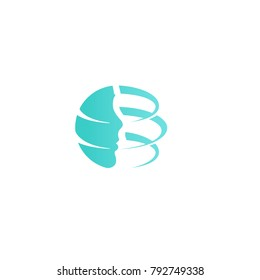 Abstract Face with lines. Plastic surgery company logo template. Facelift plastic design, new technology rejuvenation vector icon.