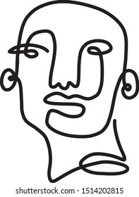 abstract face one line art illustration continuous 1 lines cubist faces figurative drawing