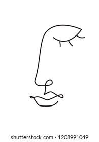 abstract face one line drawing. Portrait minimalistic style