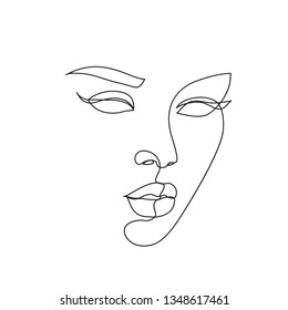 abstract face one line drawing. Beauty Woman Portrait minimalistic style