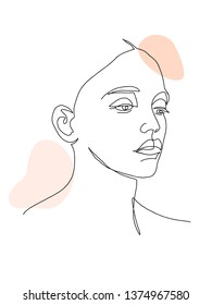 Abstract face one line drawing. Portrait a woman in modern abstract style. Hand drawn vector illustration for your contemporary fashion design.