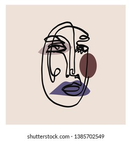 Abstract face one line drawing. Cubism surrealistic modern art. Contemporary trendy elements isolated on background. Hand drawn vector illustration