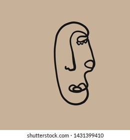 Abstract face one line drawing. Cubism surrealistic modern art.  Woman fashion portrait. Contemporary trendy avatar