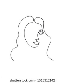 Abstract face one line drawing. Portrait minimalistic style. Fine one line drawing abstract face. One line drawing abstract faces. Modern continuous line art