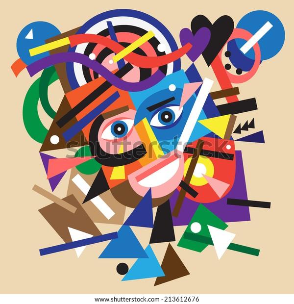 abstract face - vector cartoon