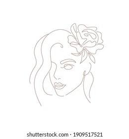 abstract face of young woman with flower, linear illustration by hand on white background