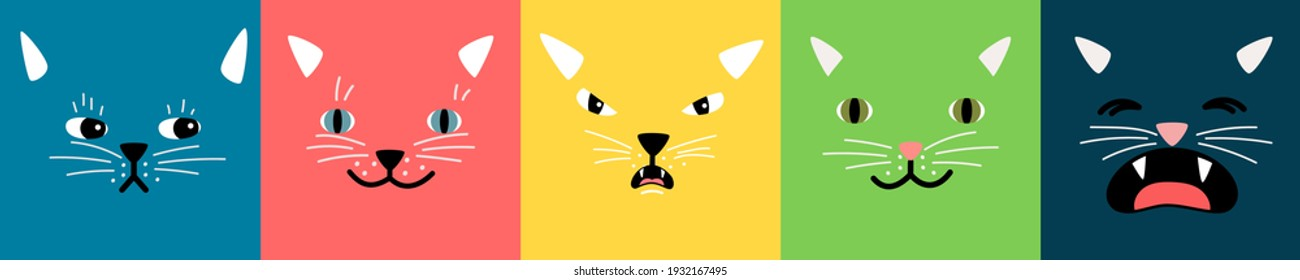 Abstract faces. Cats square emotional face, kitty emoticons. Bright diverse cartoon doodle pets muzzles vector set
