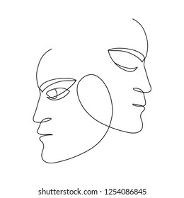 abstract faces one line drawing. Portret minimalist style