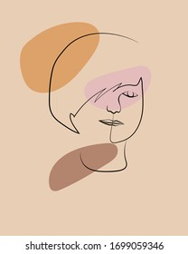Abstract faces women, hand drawn outline trendy vector illustration, line art.