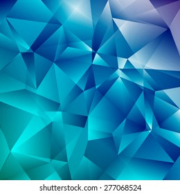 Abstract Faceted Geometric Shiny Background. Vector Blue  Diamond. Sparkling Beautiful Backdrop with Triangles.