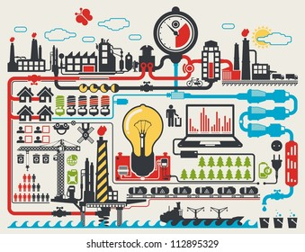 abstract factory info graphic elements, vector background