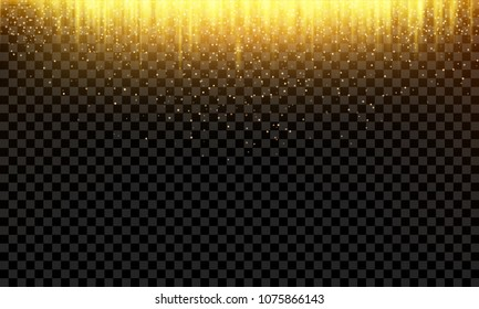 Abstract falling gold glitter particles on transparent background with golden ray lights