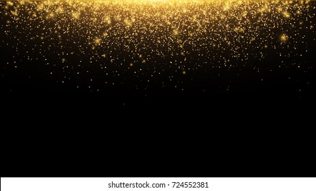 Abstract falling golden lights. Magic gold dust and glare. Festive Christmas background. Golden rain. Vector illustration