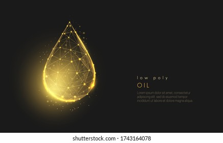 Abstract falling golden oil drop. Modern 3d graphic concept. Geometric background. Wireframe light connection structure. Isolated vector illustration. Low poly style design.