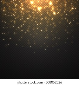 Abstract falling of lighting particles isolated on transparent . Christmas shining decoration .  Vector glitter light effect . Randomly moved flames . Holiday pattern . Vector illustration .