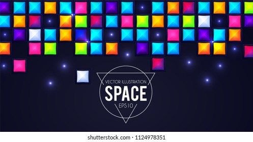 Abstract Falling Squares. Rainbow Color. Game Template. Pixel Bricks. Vector illustration