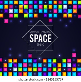 Abstract Falling Squares. Rainbow Color. Tetris Game Template. Pixel Bricks. Vector illustration