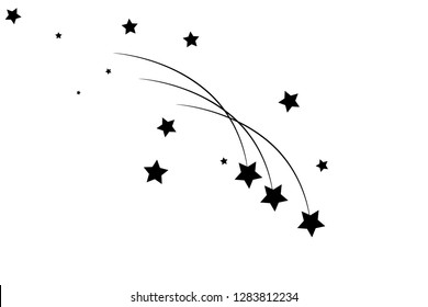 Abstract Falling Star - Black Shooting Star with Elegant Star Trail on White Background - Meteoroid, Comet, Asteroid, Stars