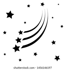 Abstract Falling Star - Black Shooting Star with Elegant Star Trail on White Background