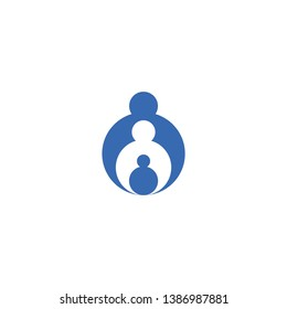 Abstract Family Logo Design Concept. Concept of Motherhood, Secure, Nurture, Teamwork, Caring, Protect Isolated on White Background. Modern Brand Identity