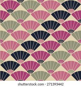 Abstract fan backdrop. Based on Traditional Japanese Embroidery. Colorful Seamless pattern. Based on Sashiko stitching - uchiwa.