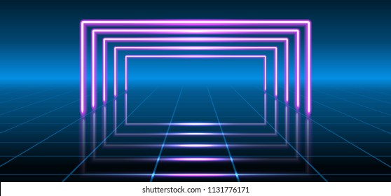 Abstract fantastic background with neon geometric lines and space portal into another dimension