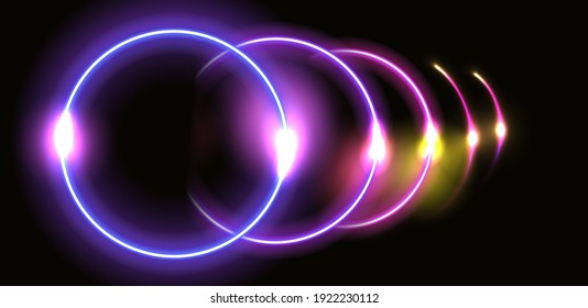 Abstract fantastic background with neon glowing round frame and shiny light space portal into another dimension. Fluorescent space border.