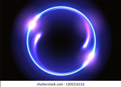 Abstract fantastic background with neon round frame and space portal into another dimension
