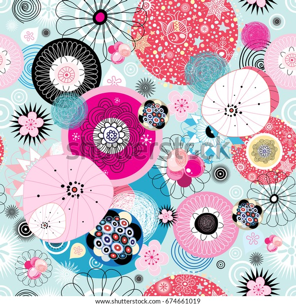 Abstract fantastic bright colored pattern of round elements