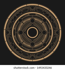 Abstract fantasy astrolabe round background