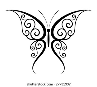 Abstract fantasy butterfly tattoo (Vector)