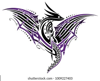 Abstract fantasy dragon with large wings. Black and purple.