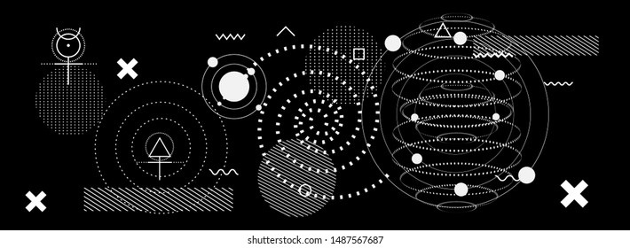 Abstract Fantasy Futuristic Minimal Vector Background with Spheres and Astronomical Bodies. Blackboard with Alchemical Enigmatic Symbols.