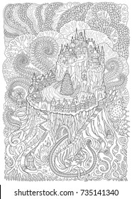 Abstract fantasy landscape. Fairy tale medieval castle with Christmas tree on a old stub. Stylized fern foliage, mushrooms.T-shirt print. Adults and children coloring book page. Black and white