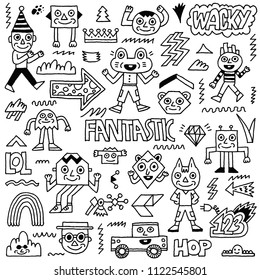 Abstract Fantasy Wacky Funny Doodle Cartoon Characters Set 1 Black and White