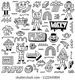 Abstract Fantasy Wacky Funny Doodle Cartoon Characters Set 2 Black and White