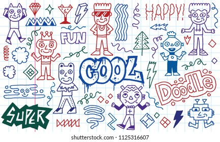 Abstract Fantasy Wacky Funny Doodle Cartoon Characters Set 4. Colored Lines School Notebook In A Cage.