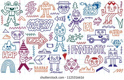 Abstract Fantasy Wacky Funny Doodle Cartoon Characters Set 1. Colored Lines School Notebook In A Cage.