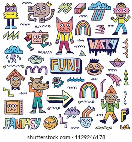 Abstract Fantasy Wacky Funny Doodle Cartoon Characters Set 2 Color