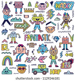 Abstract Fantasy Wacky Funny Doodle Cartoon Characters Set 1 Color