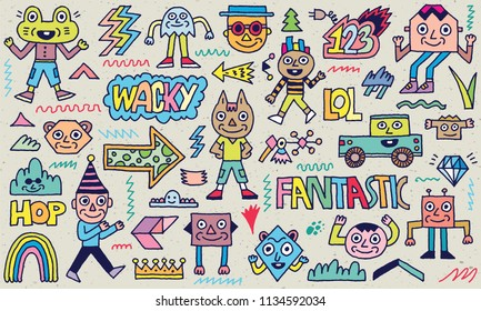 Abstract Fantasy Wacky Funny Doodle Cartoon Characters Set 1 Color Texture