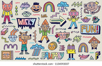 Abstract Fantasy Wacky Funny Doodle Cartoon Characters Set 2 Color Texture