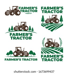 Abstract farm logo with tractor collection